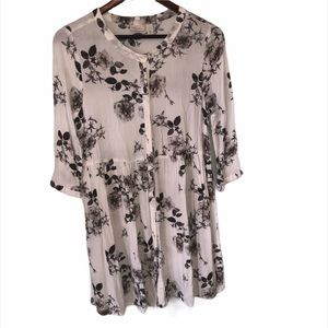Women's Hinge Black and White Floral Dress